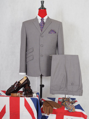 pinstripe suit|light grey 60s mod fashion tailored pin stripe suit for men