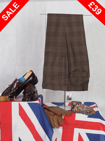 WELLER CHECK BROWN TROUSER