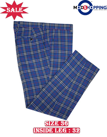 This trouser only. blue check trouser 36, Inside leg 32
