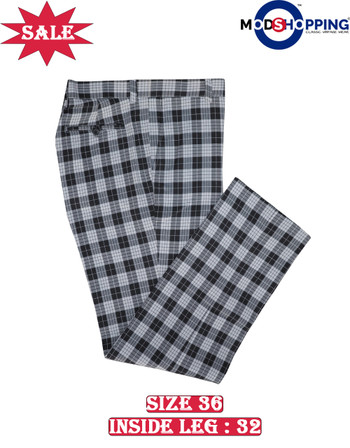 This trouser only.black check trouser 36, Inside leg 32