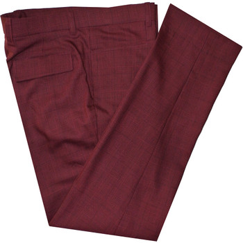 burgundy prince of wales check 60s mod trouser for men