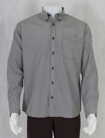 gingham shirt| black small longsleeve gingham shirt for men
