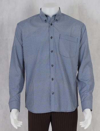 gingham shirt| long sleeve navy small gingham check shirt