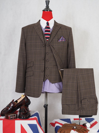 3 piece suit|60s vintage style mod fashion brunette check tailored suit for men