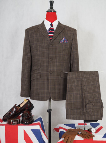 mod suits|peak lapel 3 button check suit brunette colour