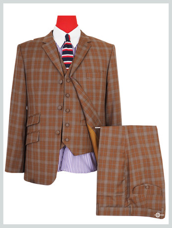 3 piece suit|brown check 60s tailored mod style three piece suit for men
