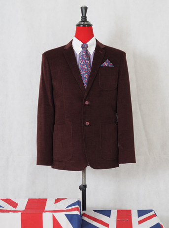 corduroy blazer| vintage style 60s mod fashion tailored burgundy corduroy jacket