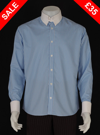 TAB COLLAR WHITE STRIPE IN SKY SALE