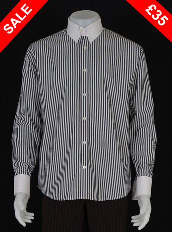 This shirt only. tab collar  grey & white shirt Size M / neck 16''