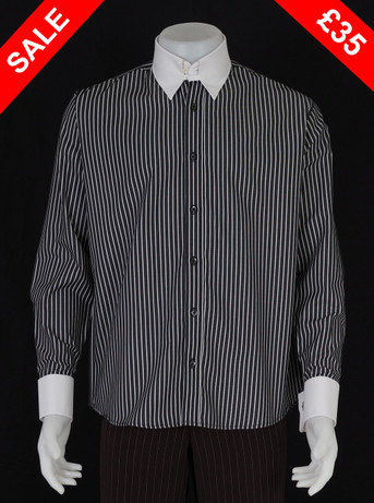 This shirt only. tab collar white stripe shirt Size M / neck 16''