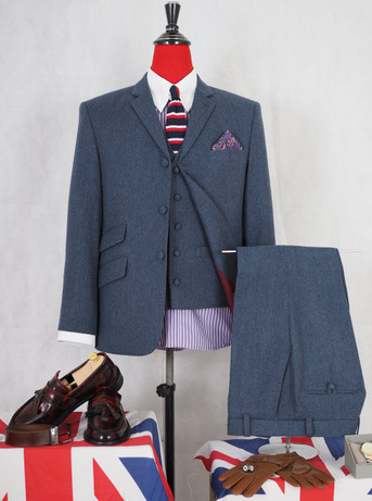 Tweed 3 piece suit|60s mod vintage style blue mod suit for men,tailored