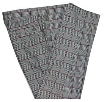 mod trouser| 60s tailored burgundy check in grey trouser for men