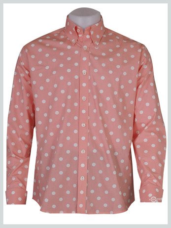polka dot shirt| white dot in salmon colour mod shirt