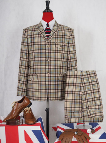 This suit only. brown check mod suit 42S jacket/34-28 trouser