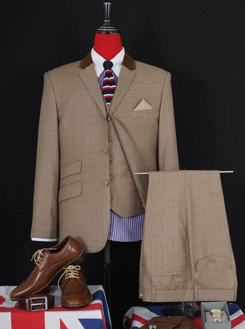 This suit only.Prince of wales brown 3 piece suit 40R jacket / 34-32 Trouser