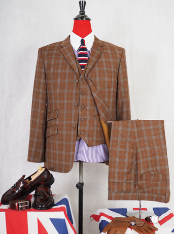 This suit only. brown check 60s tailored three piece suit for men  40R jacket / 34-32 trouser