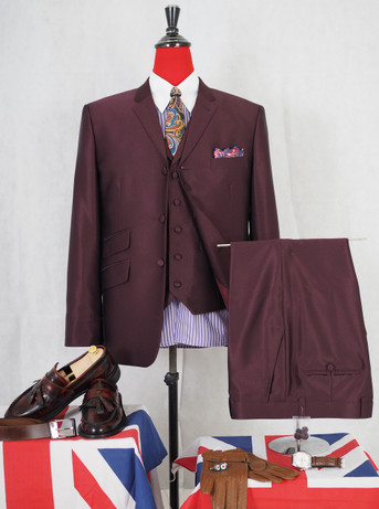 Only this suit. burgundy  tonic wedding suit  40R jacket / 34-32 trouser
