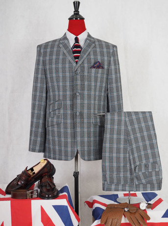 This suit only . tailored light grey check suit for man 40R jacket / 34-32 trouser