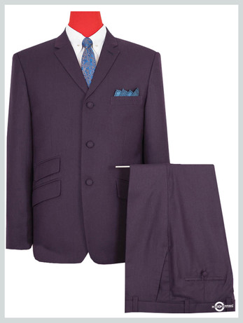 mod suit| vintage style retro purple 3 button mod suit for men