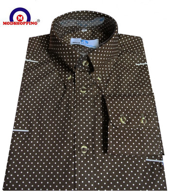 polka dot shirt mens| very small white dot in brown colour slim fit shirt.