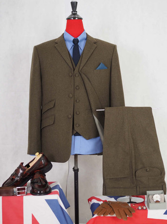 Tweed 3 Piece Suit| Retro olive green 3 button mod tweed 3 piece suit for men
