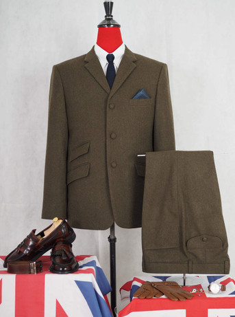 tweed green suit| vintage mens 3 button mod style tweed suit