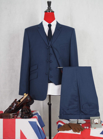 This suit only. classic mid night navy blue herringbone suit  40R jacket / 34-32 trouser