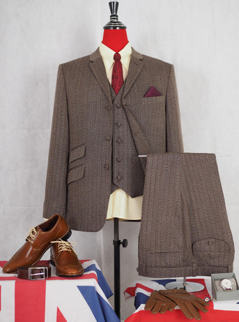 This suit only.1960s mod brown pinstripe suit 40R jacket / 34-32 trouser