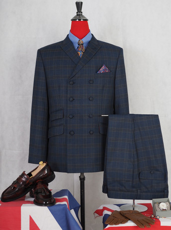 Only this suit. navy blue check mohair double breasted suit 40R jacket / 34-32 trouser