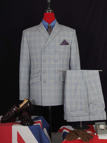 This suit only. yellow check double breasted suit 40R jacket / 34-32 trouser