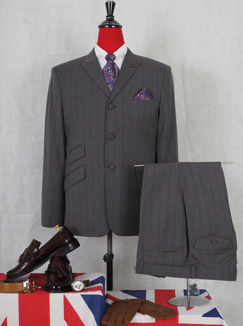 Maroon check in grey 3 piece bespoke suit