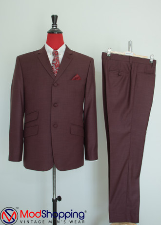 Pale Berry colour Mod Suit| 60s Mod Style Tailored 3 Button vintage Mod Suit