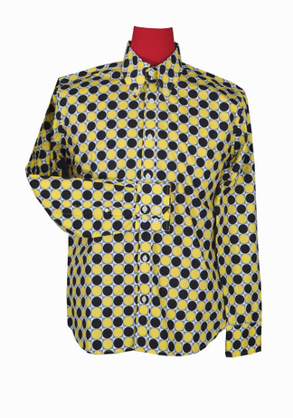 yellow black big polka dot shirt