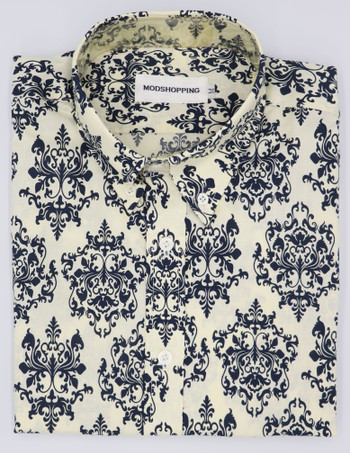 Black and off white flower pattern  shirt size medium