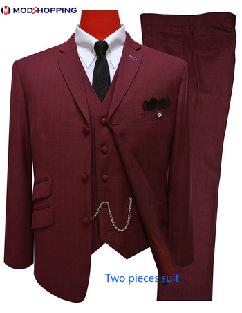 2 Piece Suit| Burgundy 60s Mod 3 Button Three Piece Suit For Men