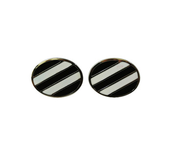black & white stripe cufflinks for men, sale for online