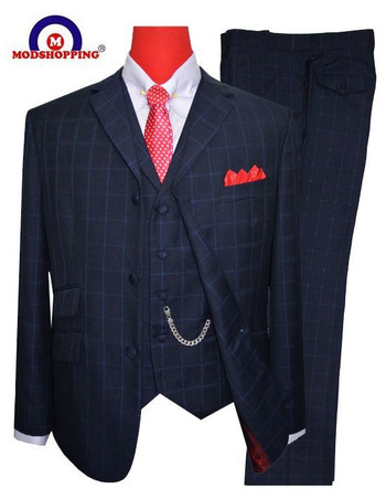 Only This Suit| Navy Blue Check Jacket 46 Regular , Trouser 38 - Inside Leg 32