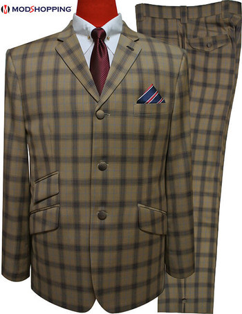 Only This Suit| Brown Check Mod Suit 40 Regular , Trouser 34 - Inside Leg 32
