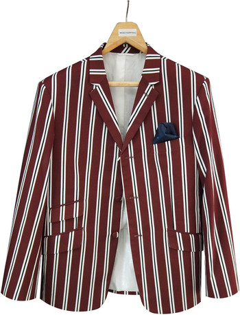 This Jacket Only| Burgundy Stripe Boating Blazer, 46R jacket