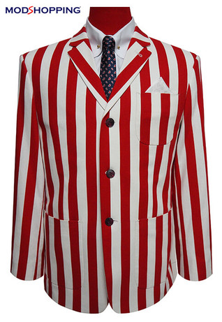 This Jacket Only| Red & White Stripe Boating Blazer, 48 R Jacket
