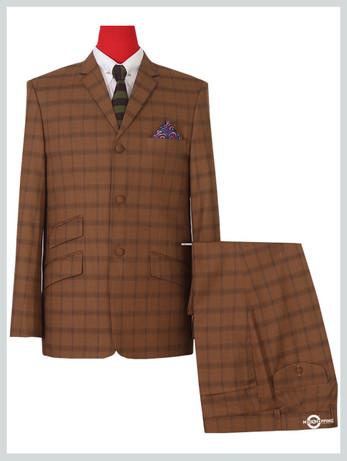 Dark brown classic check mohair mod 3 button suit
