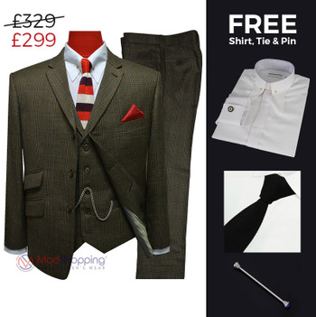 Suit deals | Buy 1 (prince of wales brown 3 piece check suit,60s vintage style) & get free 3 products