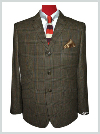 prince of wales check jacket|60s mod fashion tailored 3 button brown mod jacket