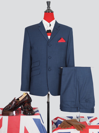 Only This Suit| Pale Navy Blue  Mod Suit|Jacket 40 Re, Trouser 34 - Inside Leg 32
