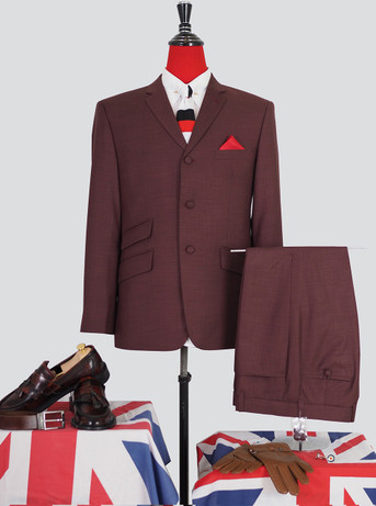 Only This Suit| Pale Berry Colour Mod Suit|Jacket 40 Re, Trouser 34 - Inside Leg 32