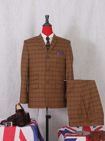 Only This Suit| Dark Brown Classic Check Suit|Jacket 40 Re, Trouser 34 - Inside Leg 32