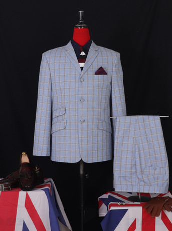 Only This Suit| Sky Colour Check Mod Suit|Jacket 40 Re, Trouser 34 - Inside Leg 32