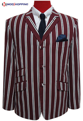 This Jacket Only| Burgundy Stripe Boating Blazer, 42 short Jacket