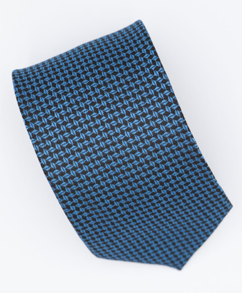 Blue dot in black silk neck tie