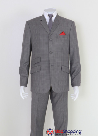 GREY PRINCE OF WALES MOHAIR 3 BUTTON MOD SUIT